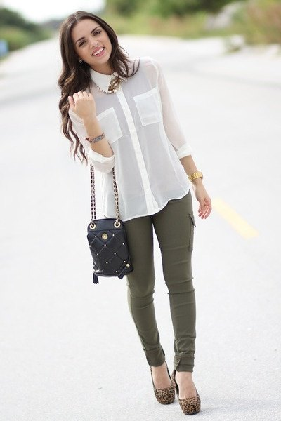white chiffon shirt with buttons and olive-green skinny jeans