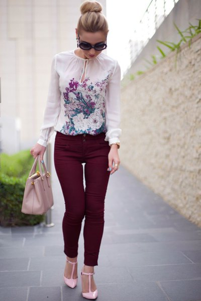 white chiffon flower blouse with black drainpipe trousers