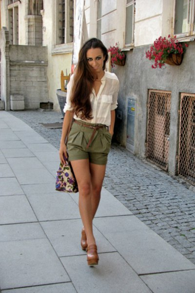 white chiffon blouse with half sleeves and green waist shorts