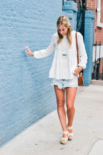 white chiffon peplum blouse with light blue denim shorts