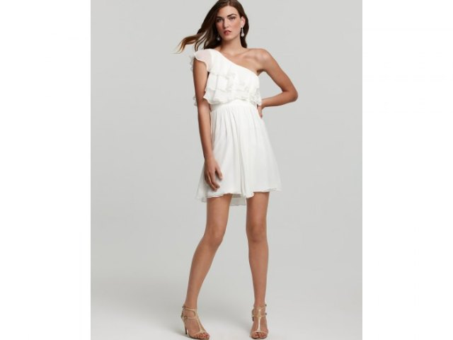 white chiffon ruffle mini hangover dress with strappy heels