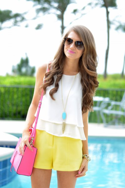 white chiffon ruffle vest top with flowing shorts