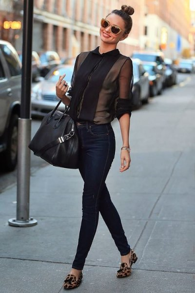 white, semi-transparent chiffon blouse with half sleeves and dark skinny jeans