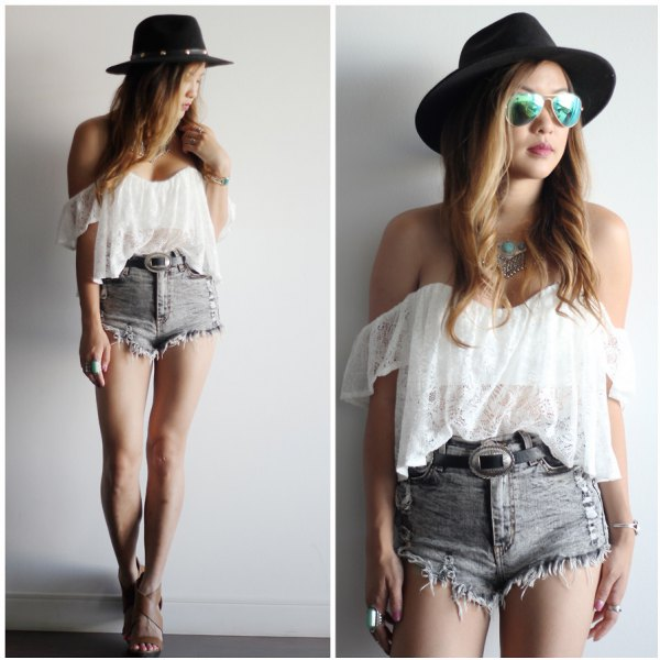 white, semi-transparent tube top made of chiffon with gray, high-waisted, ripped denim shorts