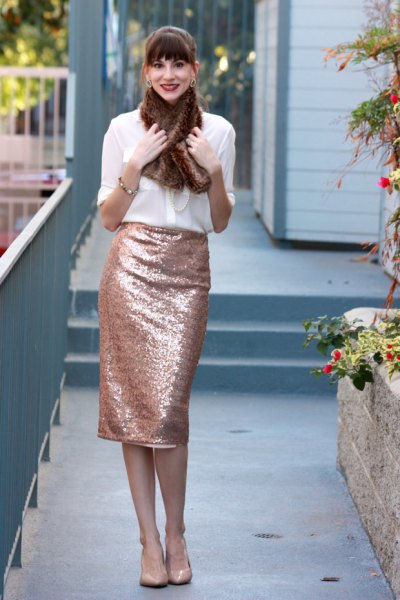 white chiffon shirt with rose gold colored midi pencil skirt