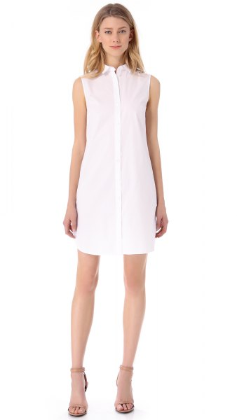 sleeveless shirt dress made of white chiffon, light pink, open toe heels