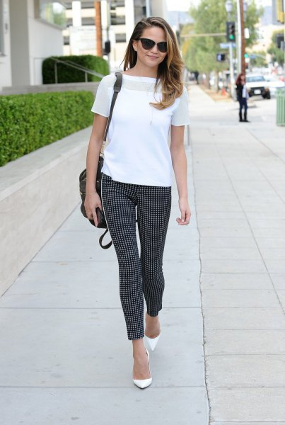 white chiffon T-shirt with checked, narrow ankle pants