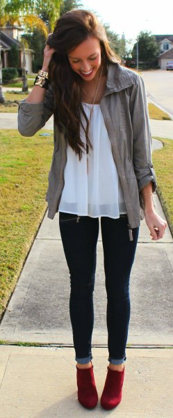 white chiffon tunic top jeans outfit
