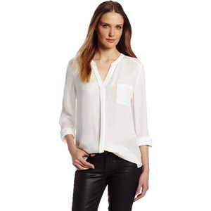 white collarless shirt with chiffon V-neck, black leather pants