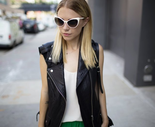 white chiffon vest top with black motorcycle vest