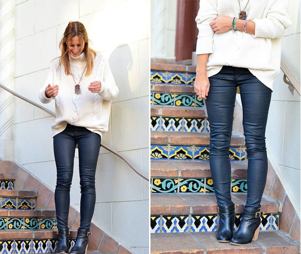 white, grainy knit sweater with deep purple, waxed jeans