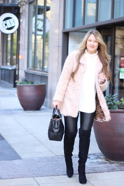 white, chunky leather sweater