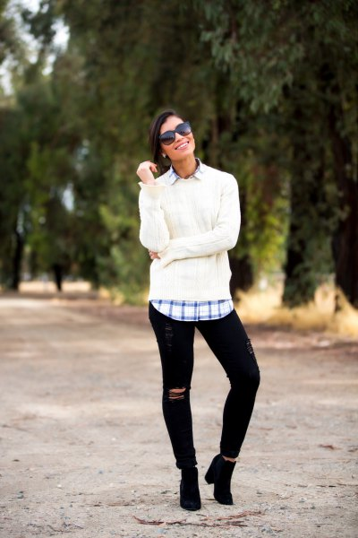 white, chunky sweater with blue checked boyfriend shirt