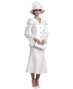white church skirt suit with hat and handbag