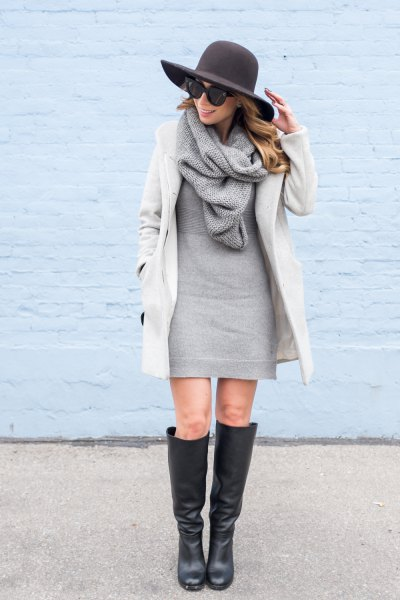 white cocoon coat with gray pullover mini dress and knitted scarf
