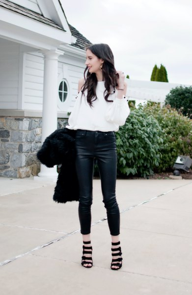 white cold shoulder blouse with short skinny jeans