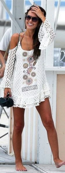 white crochet dress with cold shoulder