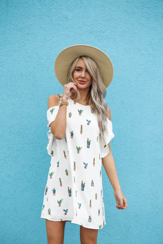 white cactus with cold shoulder dress