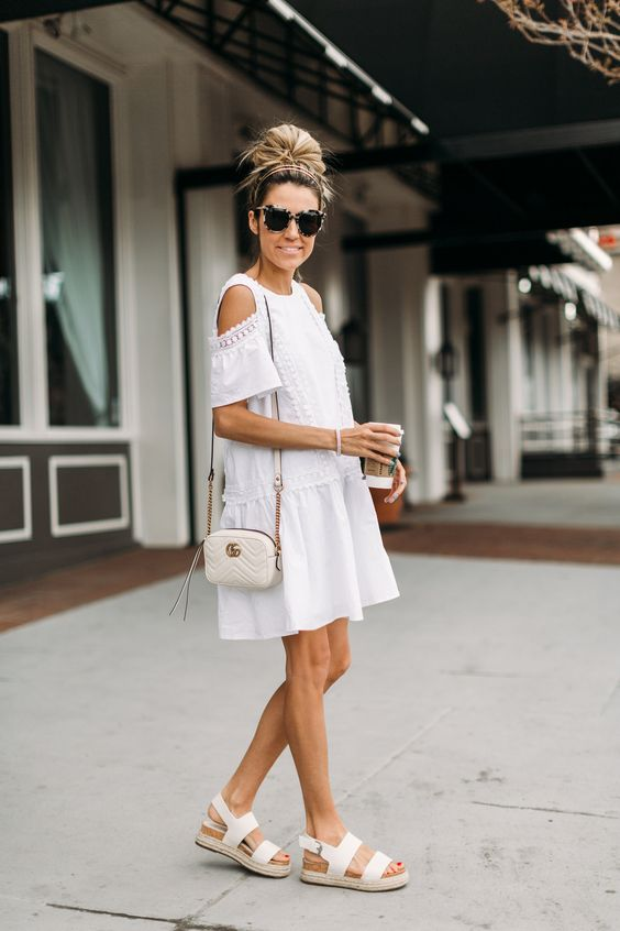 White Cold Shoulder Dress: 13 Lovely Summer Outfit Ideas - FMag.c