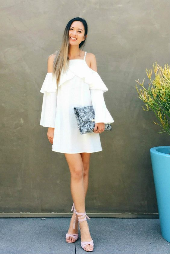 white ruffle neckline with cold shoulder dress