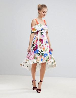 white midi floral dress with cold shoulder