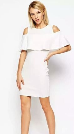 white mini dress with cold frills