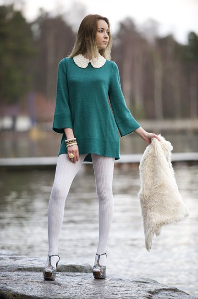 white collar tunic top with bell sleeves and white leggings