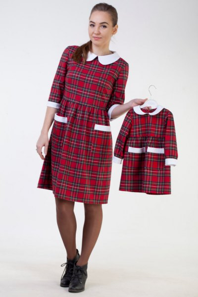 white collar, red plaid, knee-length dress with a ruched waist