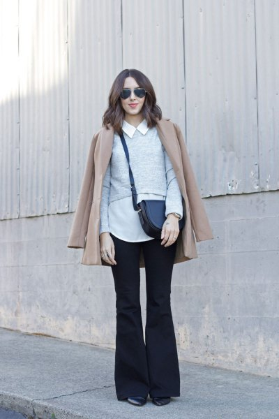 white shirt with collar, blushing pink coat and black flared jeans
