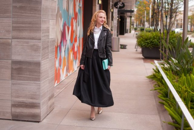white shirt with collar, leather jacket and black maxi taffeta skirt