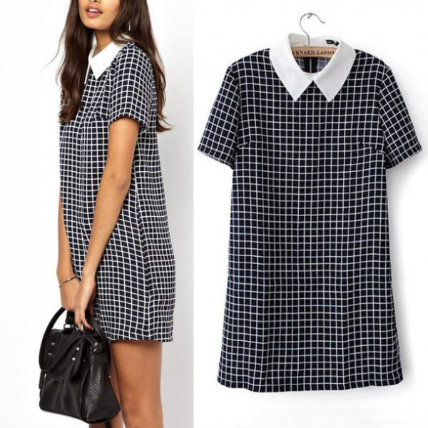 Checkered short-sleeved mini dress with white collar