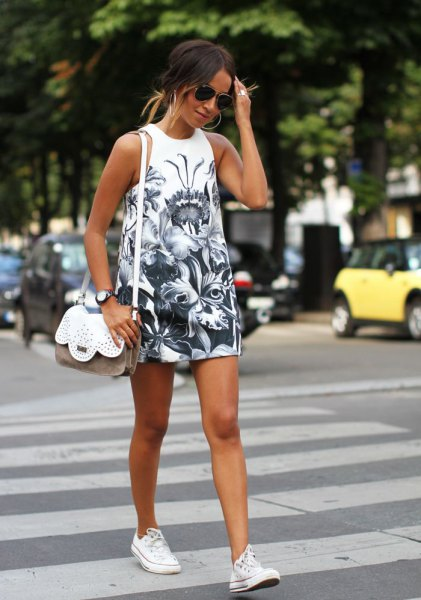 white t-shirt dress with black and white print