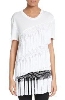 white t-shirt with round neckline, several layers of fringes
