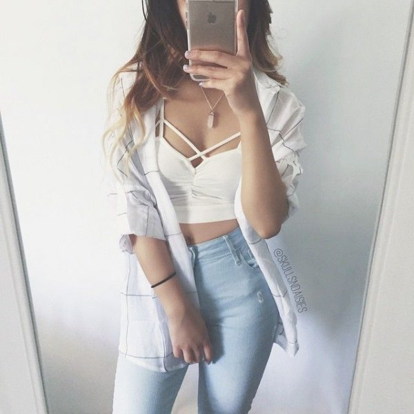 white criss cross crop top boyfriend shirt