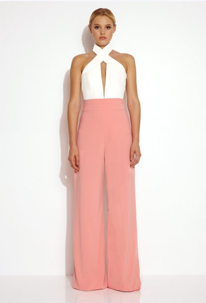 white criss cross neck top beige pants with wide legs