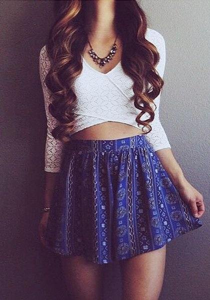White Criss Cross Wrap Crop Top Flowers Mini Skirt