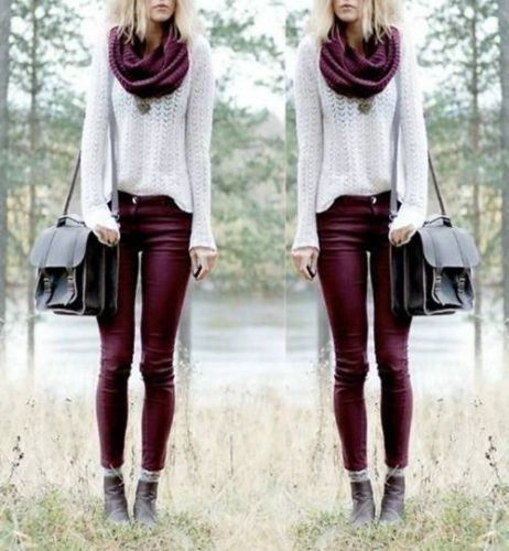 white crocheted knit sweater with infinity scarf and auburn skinny jeans