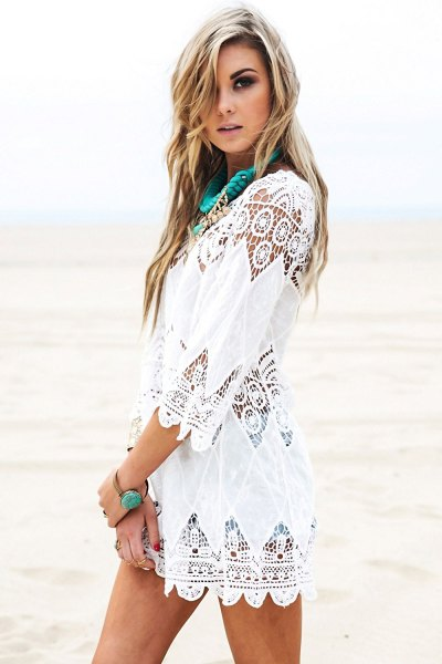 white crochet lace dress in boho style