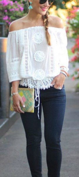 white crochet lace from the top with skinny jeans