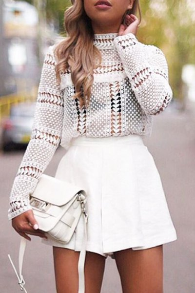 white crochet top with mock neck and minirater skirt