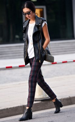 white crocheted checked tube trousers