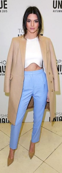 white crop top and pink long blazer