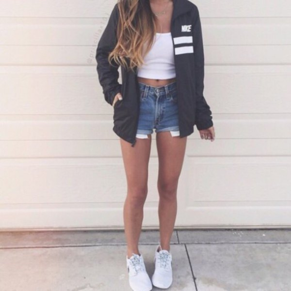white crop top with denim mini shorts and sneakers