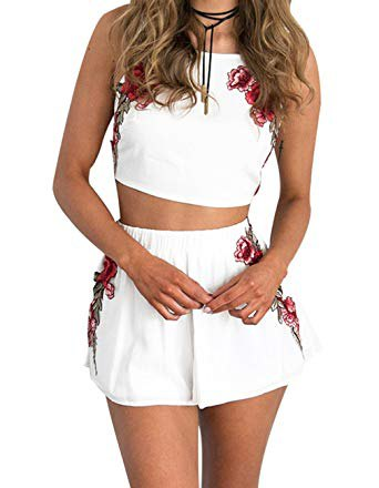 white crop top with matching flowing floral mini shorts