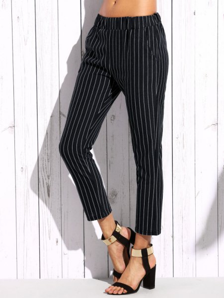 white crop top with vertically striped elastic waist ankle pants