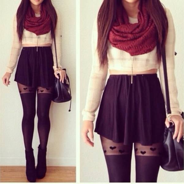 white, short cut blouse with red infinity scarf and mini skirt