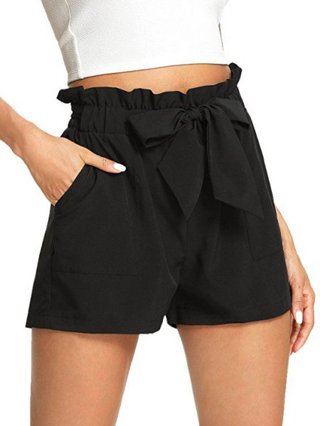 white, cropped, fitted t-shirt with black, elastic waist shorts