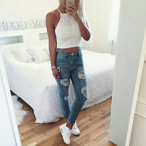 white, short-cut skinny jeans with a halter top