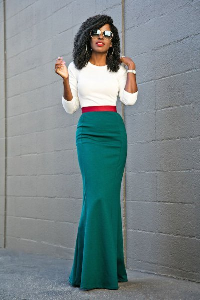 white cropped sweater with gray floor-length skirt