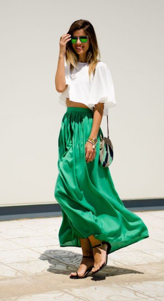 white short t-shirt with green maxi skirt with high waist